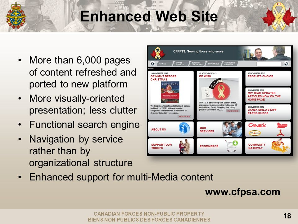 CANADIAN FORCES NON-PUBLIC PROPERTY BIENS NON PUBLICS DES FORCES CANADIENNES 18 Enhanced Web Site More than 6,000 pages of content refreshed and ported to new platform More visually-oriented presentation; less clutter Functional search engine Navigation by service rather than by organizational structure Enhanced support for multi-Media content