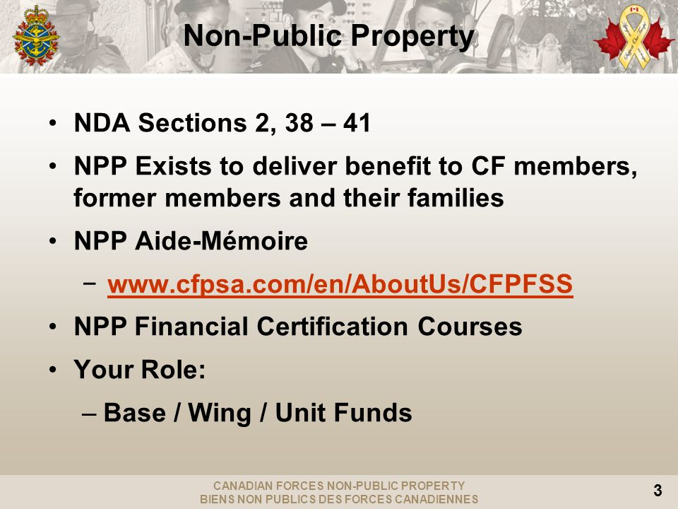 CANADIAN FORCES NON-PUBLIC PROPERTY BIENS NON PUBLICS DES FORCES CANADIENNES 3 Non-Public Property NDA Sections 2, 38 – 41 NPP Exists to deliver benefit to CF members, former members and their families NPP Aide-Mémoire   NPP Financial Certification Courses Your Role: –Base / Wing / Unit Funds