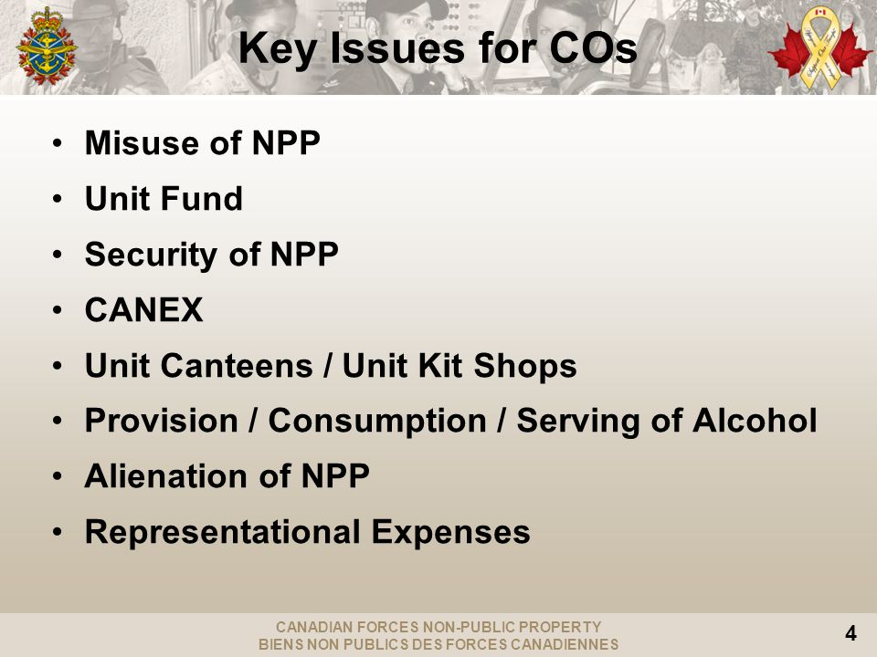 CANADIAN FORCES NON-PUBLIC PROPERTY BIENS NON PUBLICS DES FORCES CANADIENNES 4 Key Issues for COs Misuse of NPP Unit Fund Security of NPP CANEX Unit Canteens / Unit Kit Shops Provision / Consumption / Serving of Alcohol Alienation of NPP Representational Expenses