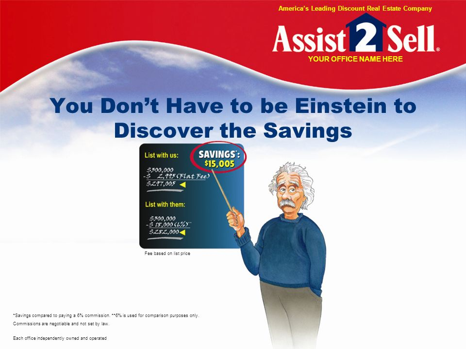 You Dont Have to be Einstein to Discover the Savings *Savings compared to paying a 6% commission.