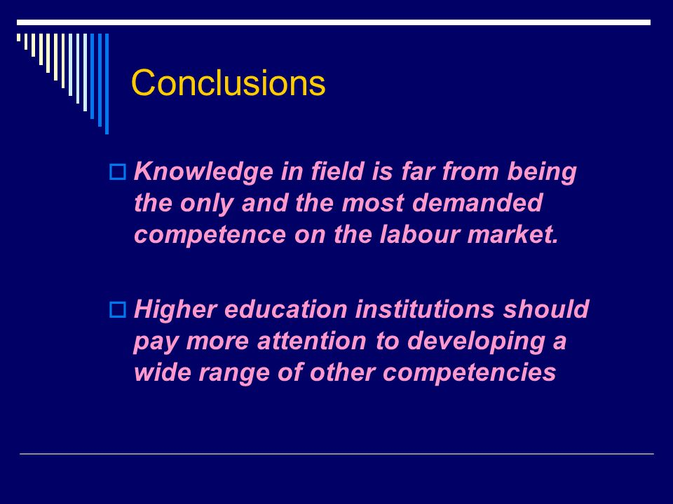 Conclusions Knowledge in field is far from being the only and the most demanded competence on the labour market.
