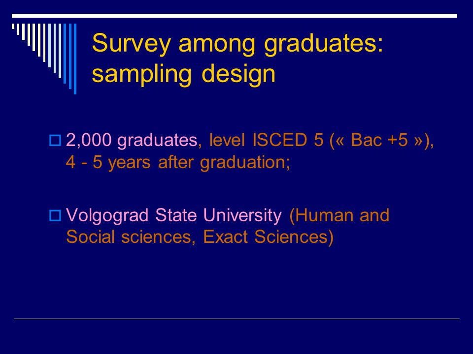 Survey among graduates: sampling design 2,000 graduates, level ISCED 5 (« Bac +5 »), years after graduation; Volgograd State University (Human and Social sciences, Exact Sciences)