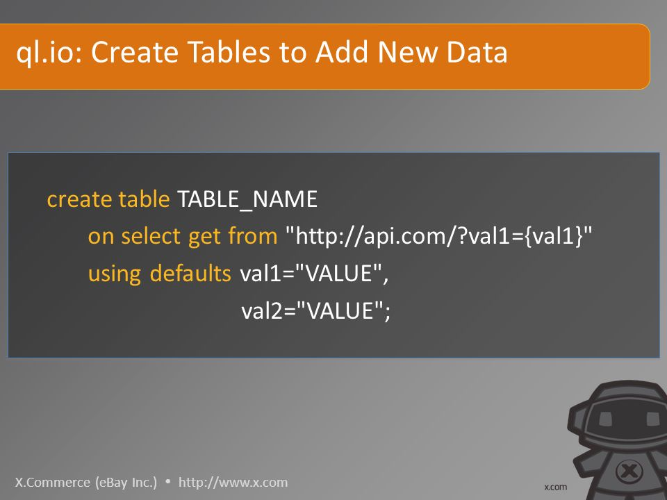 X.Commerce (eBay Inc.)   create table TABLE_NAME on select get from   val1={val1} using defaults val1= VALUE , val2= VALUE ; ql.io: Create Tables to Add New Data