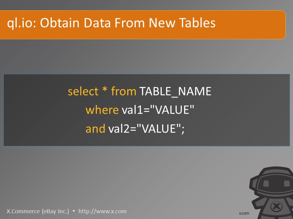 X.Commerce (eBay Inc.)   select * from TABLE_NAME where val1= VALUE and val2= VALUE ; ql.io: Obtain Data From New Tables
