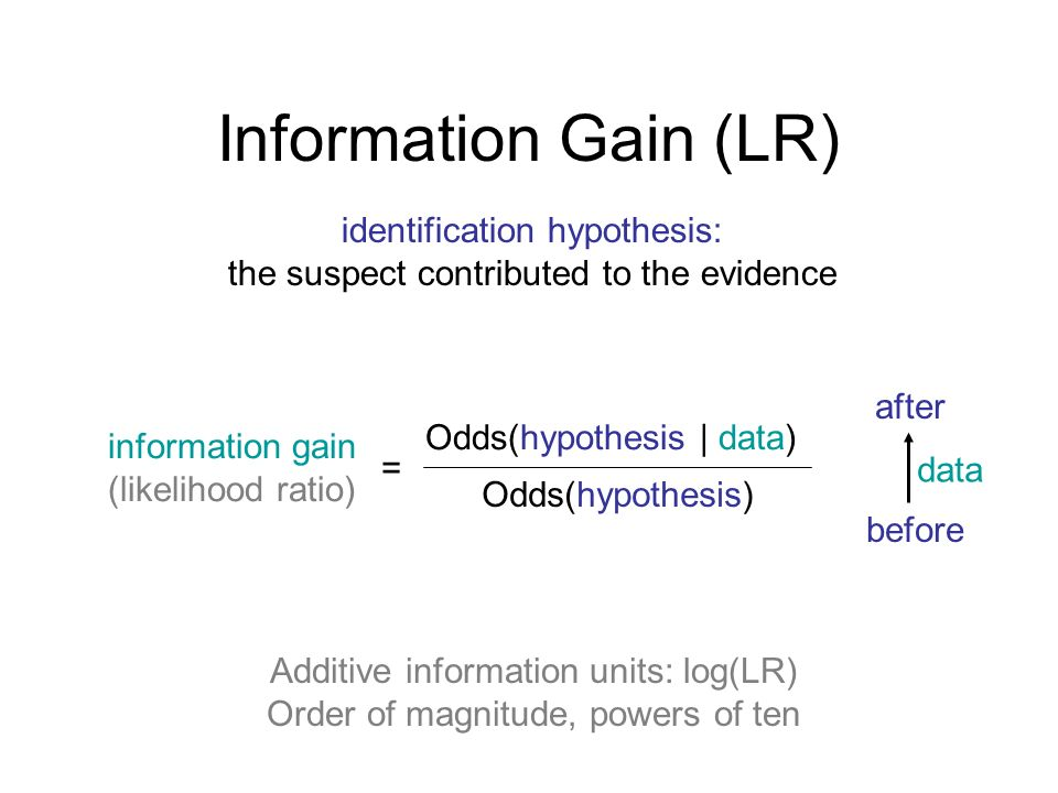 Information Gain (LR) identification hypothesis: the suspect contributed to the evidence information gain (likelihood ratio) Odds(hypothesis | data) Odds(hypothesis) before after = data Additive information units: log(LR) Order of magnitude, powers of ten