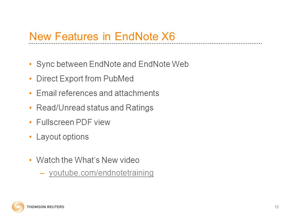 New Features in EndNote X6 Sync between EndNote and EndNote Web Direct Export from PubMed Email references and attachments Read/Unread status and Ratings Fullscreen PDF view Layout options Watch the Whats New video –youtube.com/endnotetrainingyoutube.com/endnotetraining 13