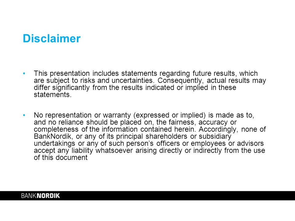 Disclaimer This presentation includes statements regarding future results, which are subject to risks and uncertainties.