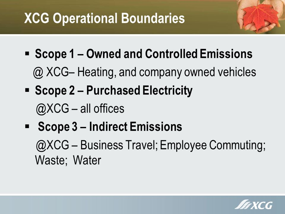 XCG Operational Boundaries Scope 1 – Owned and Controlled Emissions @ XCG– Heating, and company owned vehicles Scope 2 – Purchased Electricity @XCG – all offices Scope 3 – Indirect Emissions @XCG – Business Travel; Employee Commuting; Waste; Water
