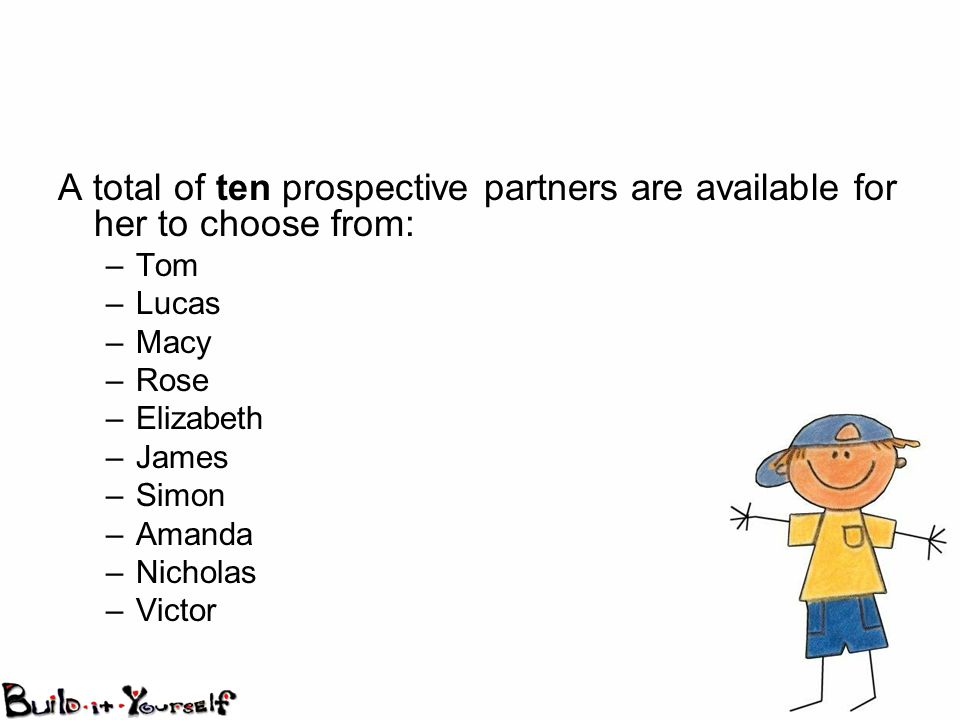 A total of ten prospective partners are available for her to choose from: –Tom –Lucas –Macy –Rose –Elizabeth –James –Simon –Amanda –Nicholas –Victor