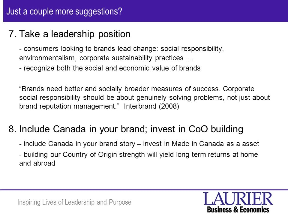 Inspiring Lives of Leadership and Purpose Just a couple more suggestions.