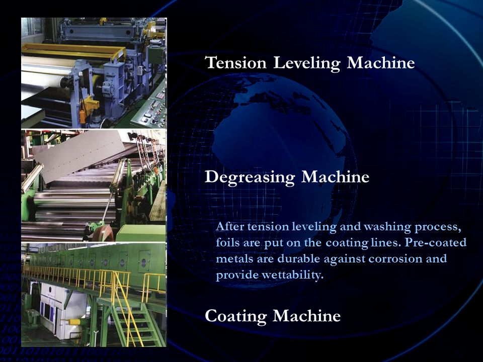 Tension Leveling Machine Degreasing Machine Coating Machine After tension leveling and washing process, foils are put on the coating lines.