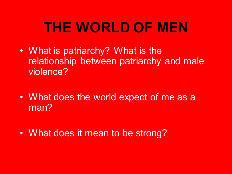 THE WORLD OF MEN What is patriarchy. What is the relationship between patriarchy and male violence.