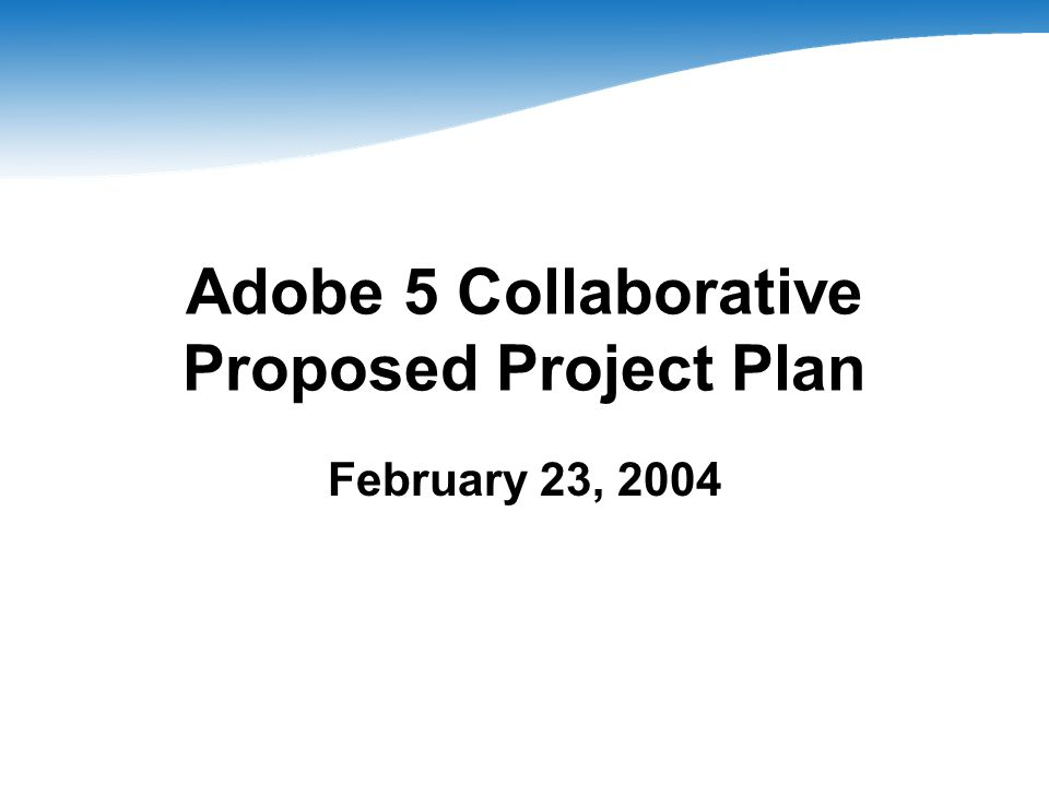 Adobe 5 Collaborative Proposed Project Plan February 23, 2004