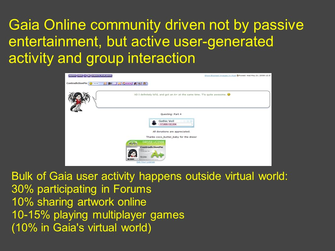 Gaia Online community driven not by passive entertainment, but active user-generated activity and group interaction Bulk of Gaia user activity happens outside virtual world: 30% participating in Forums 10% sharing artwork online 10-15% playing multiplayer games (10% in Gaia s virtual world)