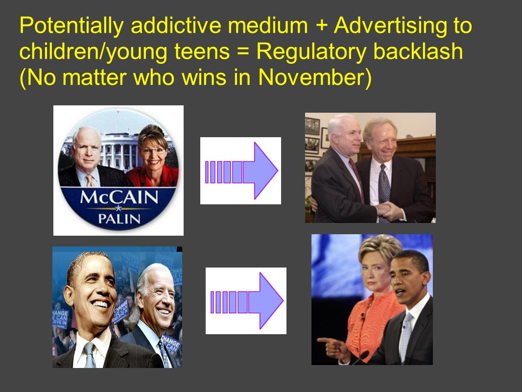 Potentially addictive medium + Advertising to children/young teens = Regulatory backlash (No matter who wins in November)