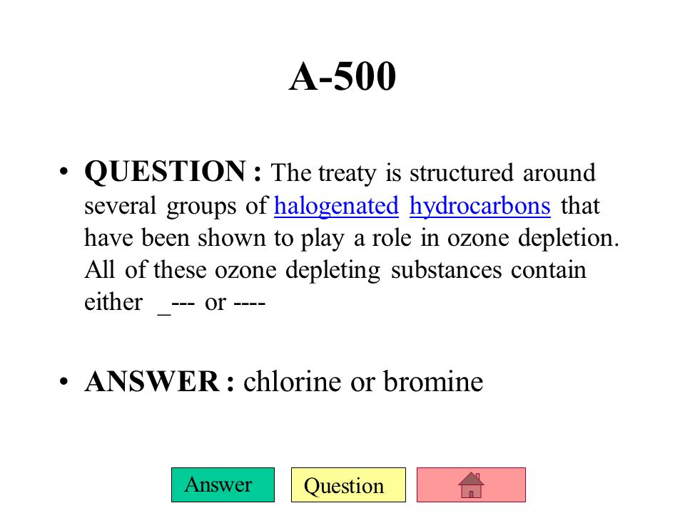 Question Answer A-400 QUESTION : The Montreal Protocol is an international treaty designed to protect the _ by phasing out the production of a number of substancestreaty ANSWER : ozone layer