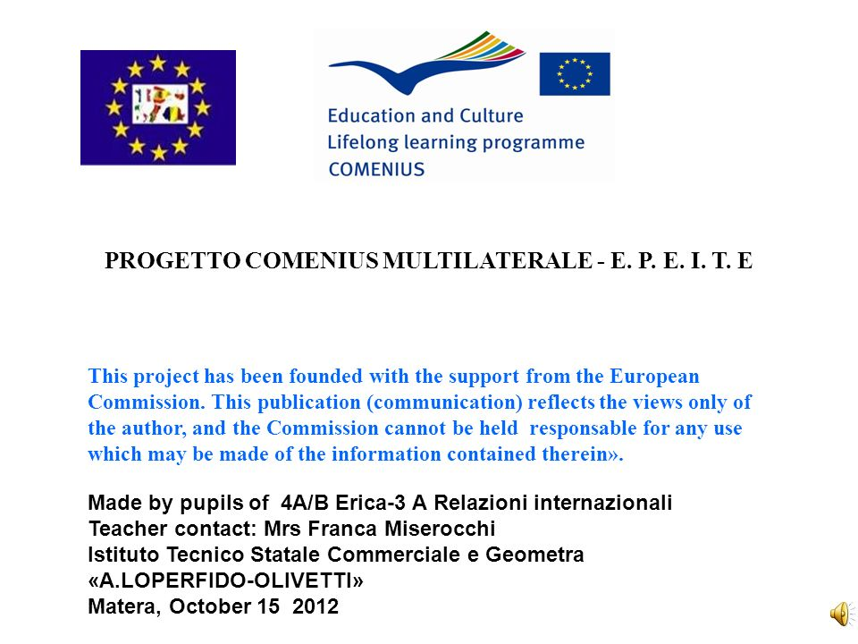 PROGETTO COMENIUS MULTILATERALE - E. P. E. I. T.