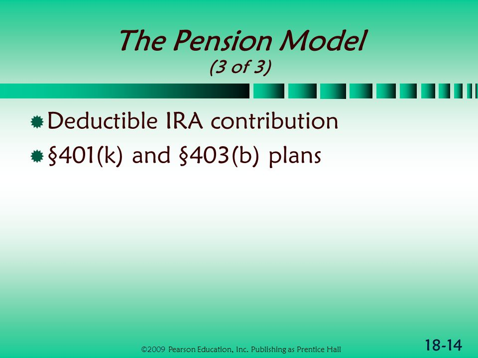 18-14 The Pension Model (3 of 3) Deductible IRA contribution §401(k) and §403(b) plans ©2009 Pearson Education, Inc.