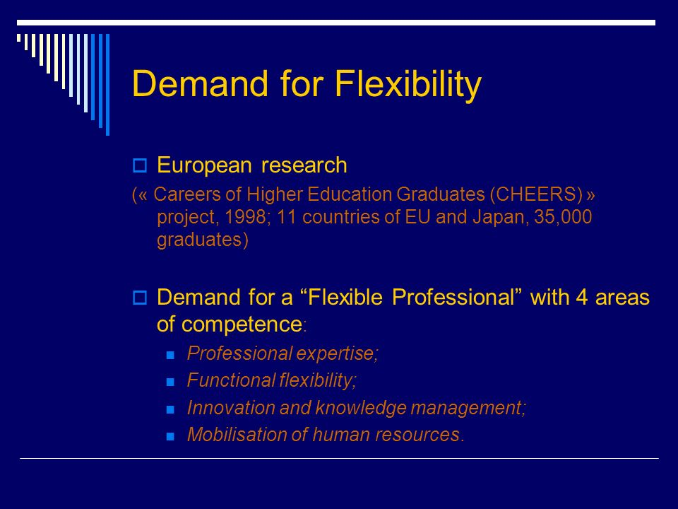 Demand for Flexibility European research (« Careers of Higher Education Graduates (CHEERS) » project, 1998; 11 countries of EU and Japan, 35,000 graduates) Demand for a Flexible Professional with 4 areas of competence : Professional expertise; Functional flexibility; Innovation and knowledge management; Mobilisation of human resources.