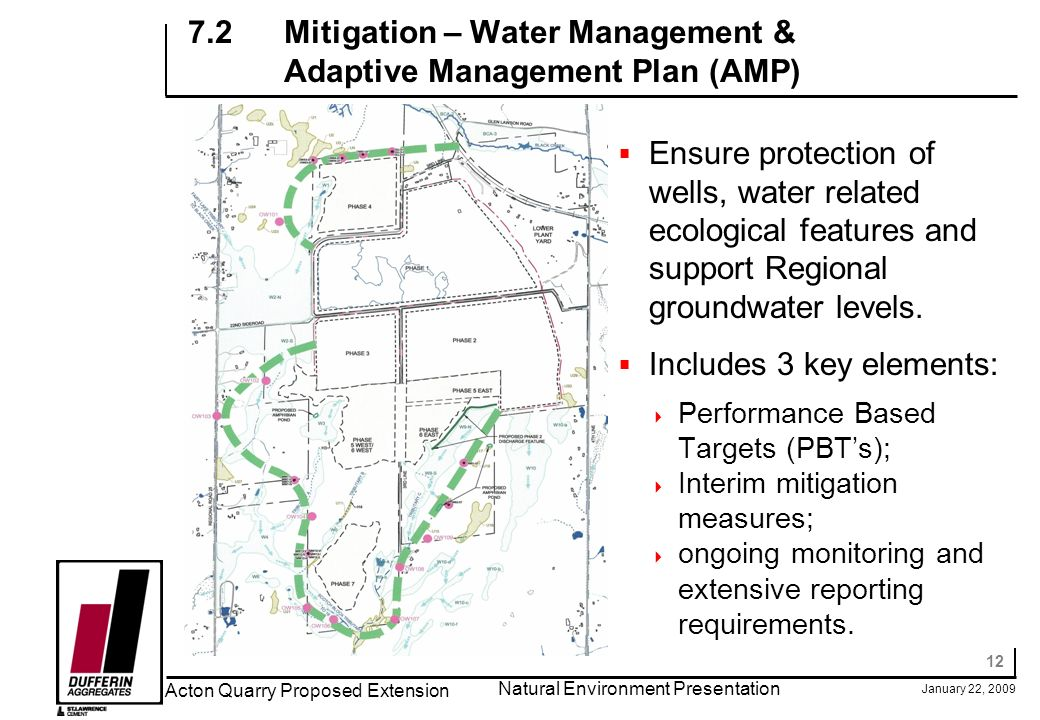 12 January 22, 2009 Acton Quarry Proposed Extension Natural Environment Presentation 7.2Mitigation – Water Management & Adaptive Management Plan (AMP) Ensure protection of wells, water related ecological features and support Regional groundwater levels.