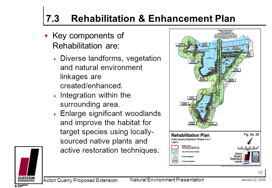13 January 22, 2009 Acton Quarry Proposed Extension Natural Environment Presentation 7.3Rehabilitation & Enhancement Plan Key components of Rehabilitation are: Diverse landforms, vegetation and natural environment linkages are created/enhanced.