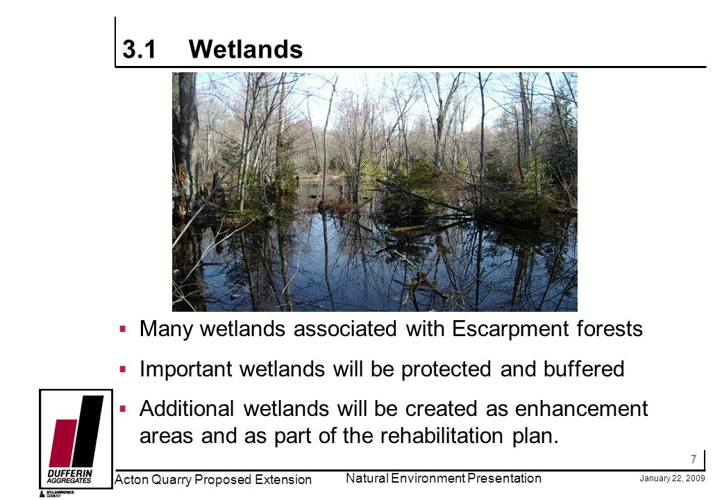 7 January 22, 2009 Acton Quarry Proposed Extension Natural Environment Presentation 3.1Wetlands Many wetlands associated with Escarpment forests Important wetlands will be protected and buffered Additional wetlands will be created as enhancement areas and as part of the rehabilitation plan.