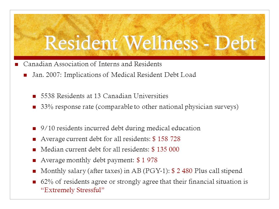 Resident Wellness - Debt Canadian Association of Interns and Residents Jan.