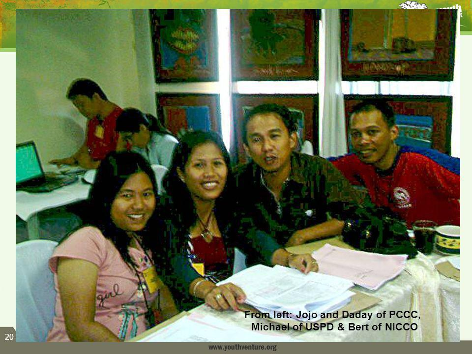 20 From left: Jojo and Daday of PCCC, Michael of USPD & Bert of NICCO