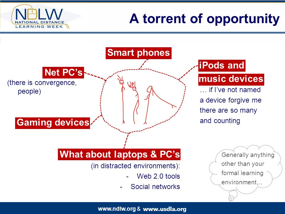 www.usdla.org www.ndlw.org & A torrent of opportunity Smart phones iPods and Generally anything other than your formal learning environment… … if Ive not named a device forgive me there are so many and counting music devices What about laptops & PCs (in distracted environments): -Web 2.0 tools -Social networks Gaming devices Net PCs (there is convergence, people)