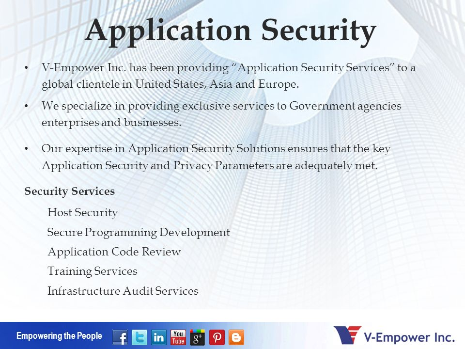 Empowering the People Application Security V-Empower Inc.