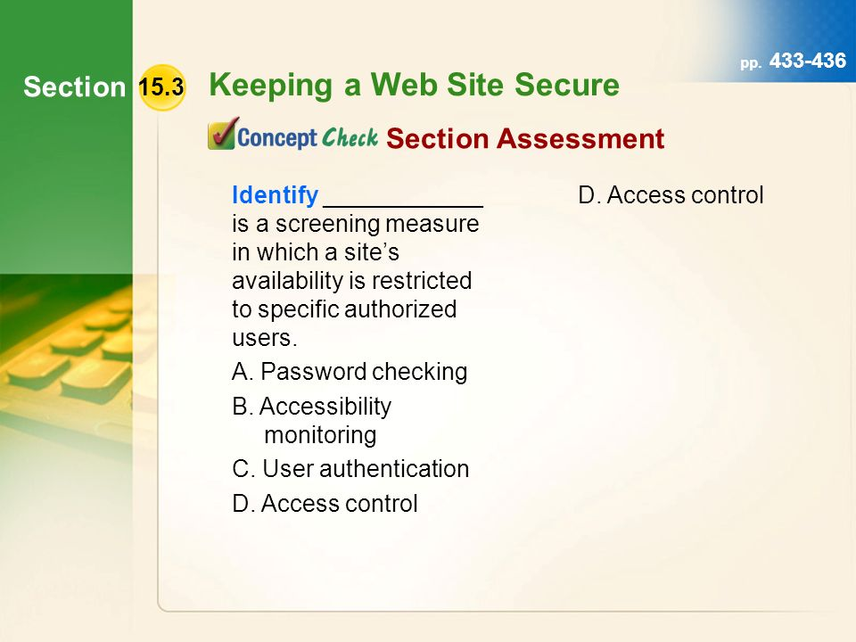 Section Keeping a Web Site Secure pp.