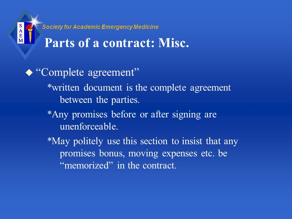 Society for Academic Emergency Medicine Parts of a contract: Misc.