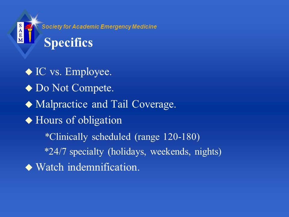 Society for Academic Emergency Medicine Specifics u IC vs.