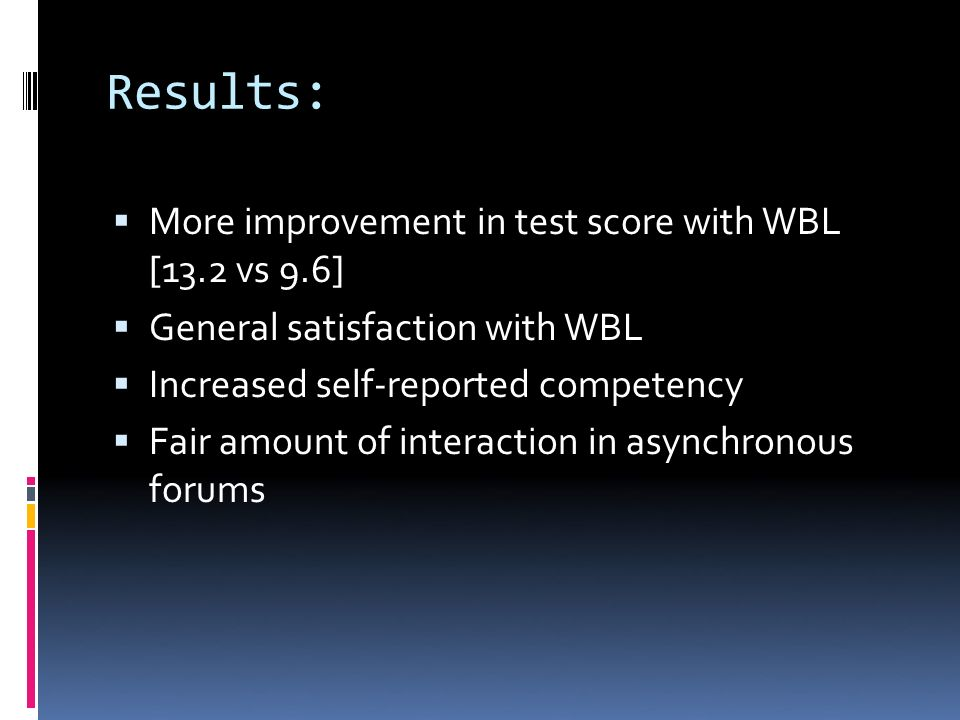 Results: More improvement in test score with WBL [13.2 vs 9.6] General satisfaction with WBL Increased self-reported competency Fair amount of interaction in asynchronous forums