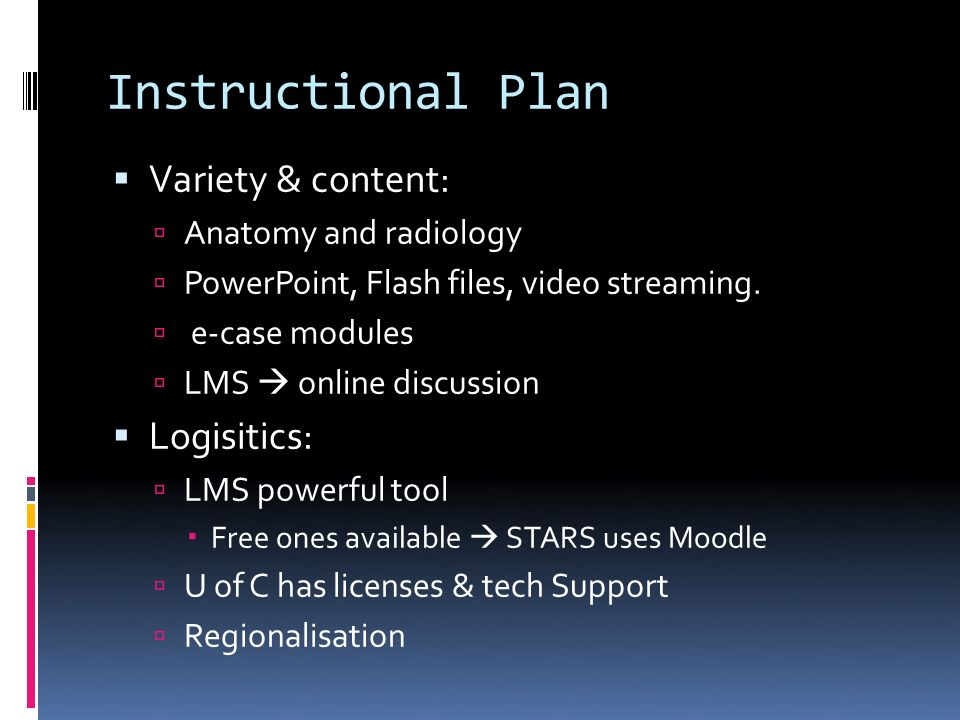 Instructional Plan Variety & content: Anatomy and radiology PowerPoint, Flash files, video streaming.