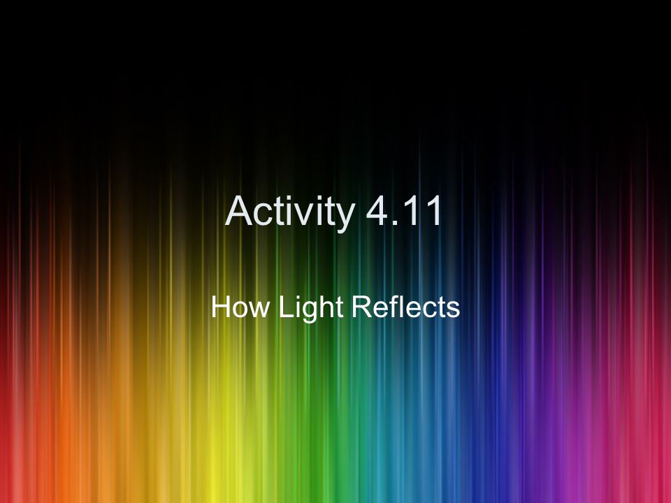 Activity 4.11 How Light Reflects