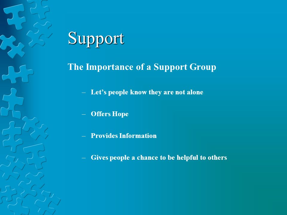 The Importance of a Support Group –Lets people know they are not alone –Offers Hope –Provides Information –Gives people a chance to be helpful to others Support
