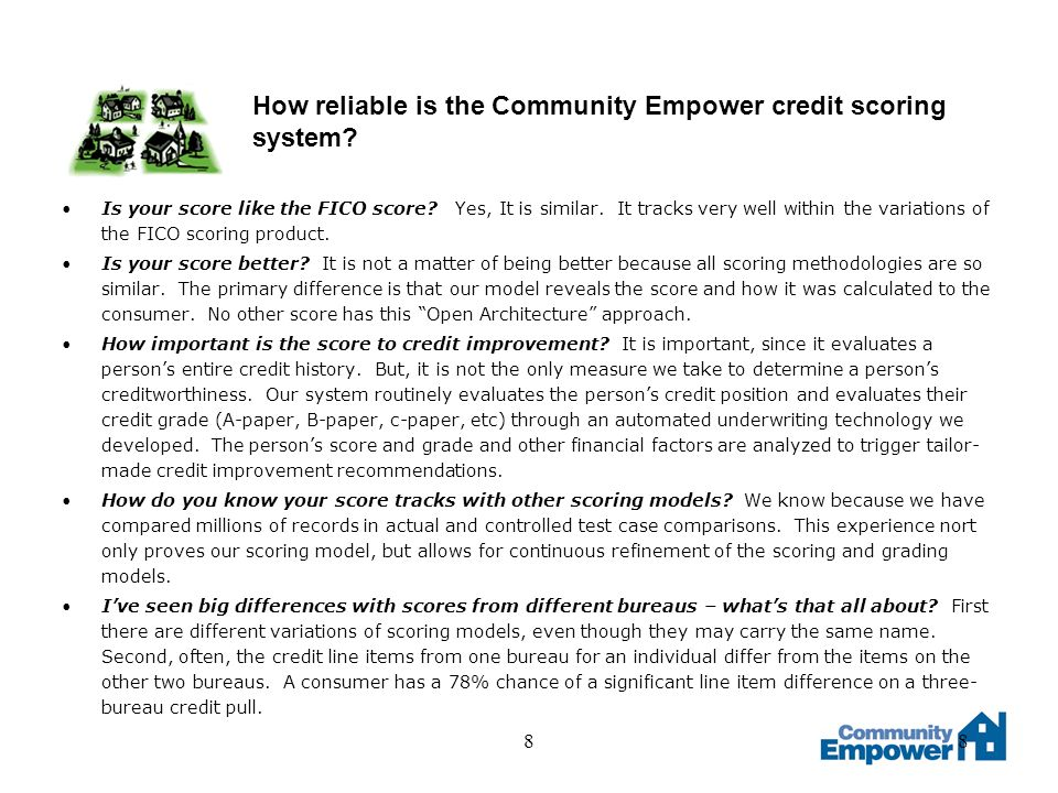 88 How reliable is the Community Empower credit scoring system.