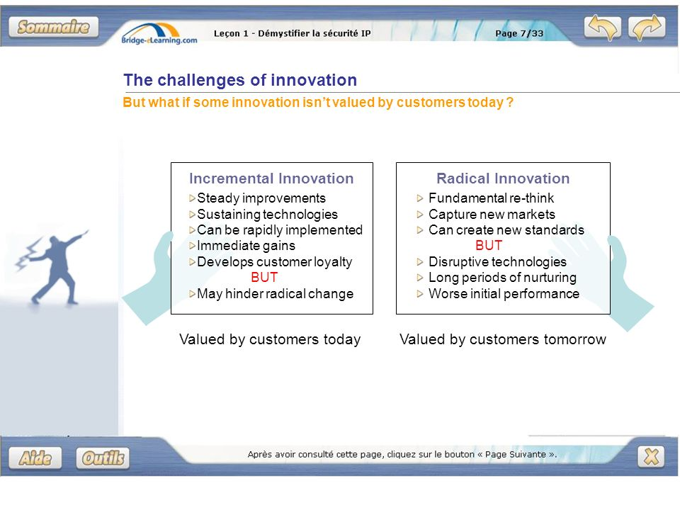 The challenges of innovation But what if some innovation isnt valued by customers today .