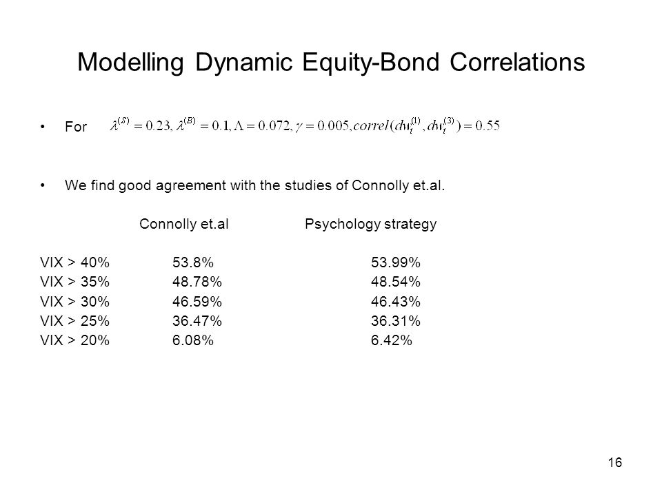 16 Modelling Dynamic Equity-Bond Correlations For We find good agreement with the studies of Connolly et.al.