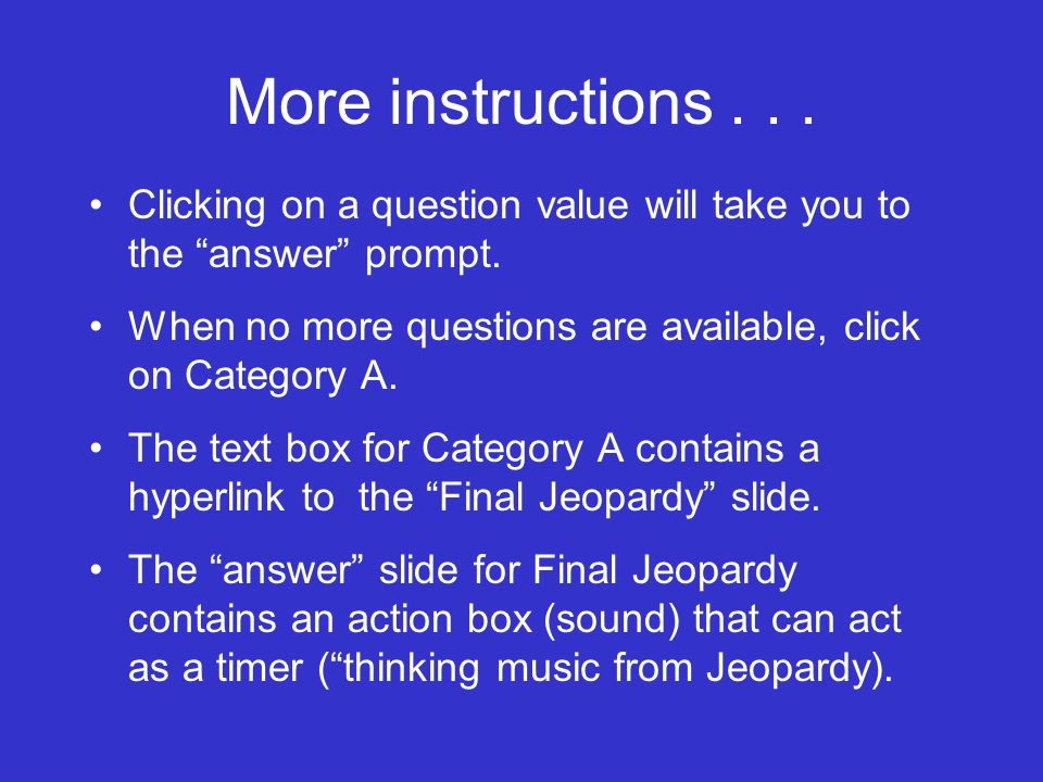 Instructions for template Answer is the prompt that the learners will see.