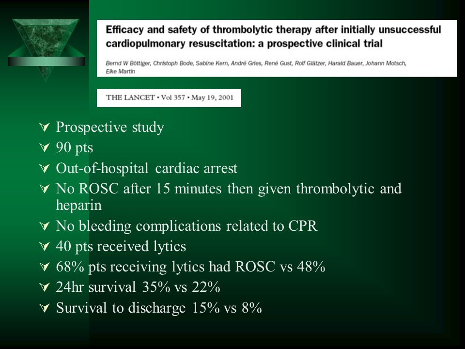 Prospective study 90 pts Out-of-hospital cardiac arrest No ROSC after 15 minutes then given thrombolytic and heparin No bleeding complications related to CPR 40 pts received lytics 68% pts receiving lytics had ROSC vs 48% 24hr survival 35% vs 22% Survival to discharge 15% vs 8%