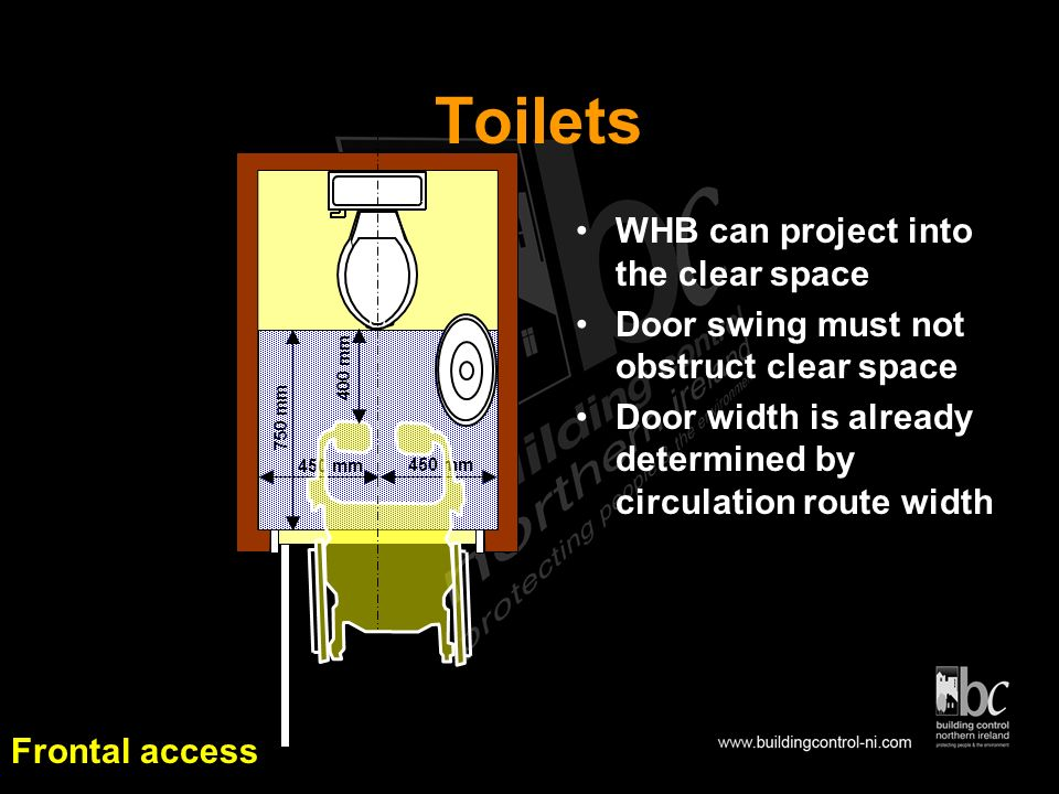 Toilet Access Access should be provided to a toilet on the Entrance Storey or the Principal Storey as appropriate