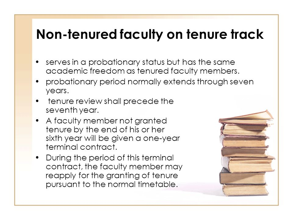 Non-tenured faculty on tenure track serves in a probationary status but has the same academic freedom as tenured faculty members.