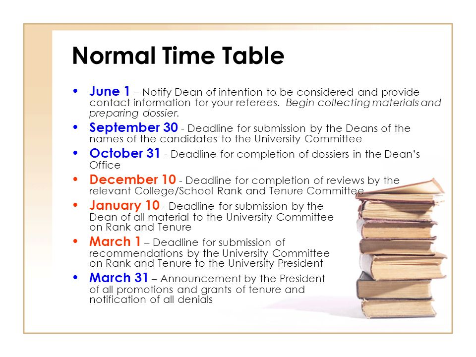 Normal Time Table June 1 – Notify Dean of intention to be considered and provide contact information for your referees.