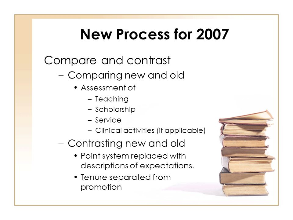 New Process for 2007 Compare and contrast –Comparing new and old Assessment of –Teaching –Scholarship –Service –Clinical activities (if applicable) –Contrasting new and old Point system replaced with descriptions of expectations.