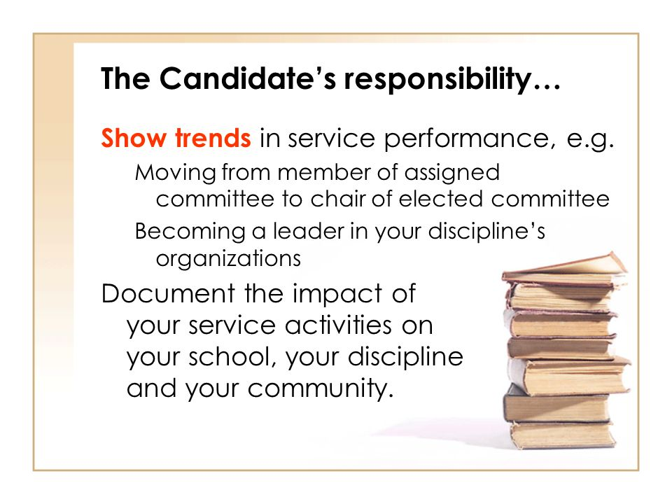 The Candidates responsibility… Show trends in service performance, e.g.