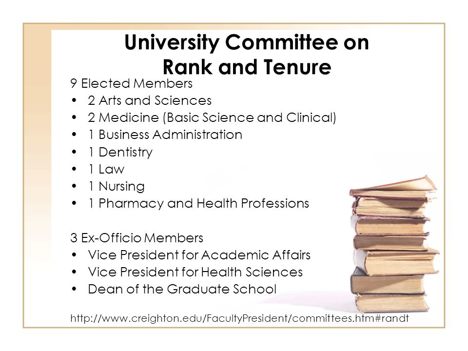 University Committee on Rank and Tenure 9 Elected Members 2 Arts and Sciences 2 Medicine (Basic Science and Clinical) 1 Business Administration 1 Dentistry 1 Law 1 Nursing 1 Pharmacy and Health Professions 3 Ex-Officio Members Vice President for Academic Affairs Vice President for Health Sciences Dean of the Graduate School