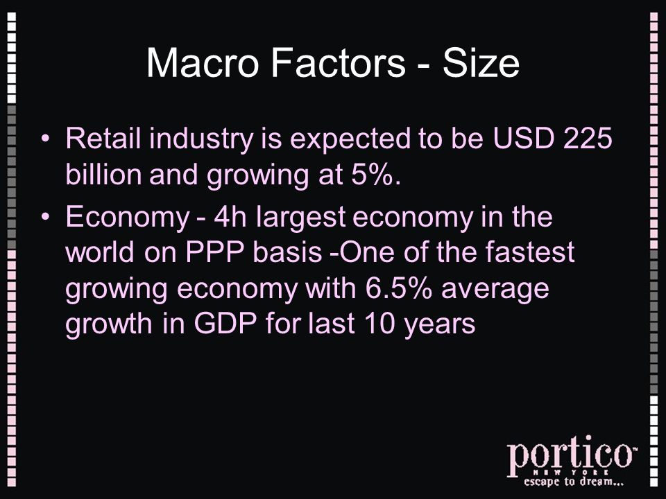 Macro Factors - Size Retail industry is expected to be USD 225 billion and growing at 5%.