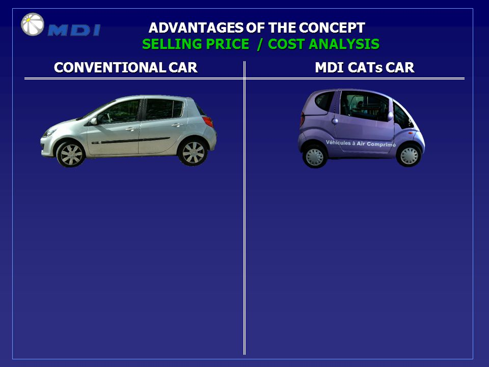 ADVANTAGES OF THE CONCEPT CONVENTIONAL CARMDI CATs CAR CONVENTIONAL CARMDI CATs CAR SELLING PRICE / COST ANALYSIS
